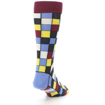 Image of Blues Yellow Red Checkered Men's Dress Socks (side-1-back-20)