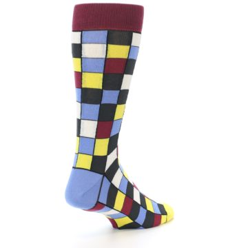 Image of Blues Yellow Red Checkered Men's Dress Socks (side-1-back-21)