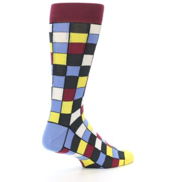 Image of Blues Yellow Red Checkered Men's Dress Socks (side-1-back-22)