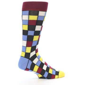 Image of Blues Yellow Red Checkered Men's Dress Socks (side-1-23)