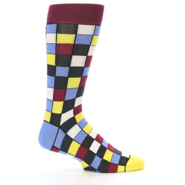 Image of Blues Yellow Red Checkered Men's Dress Socks (side-1-24)