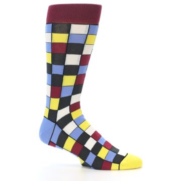 Image of Blues Yellow Red Checkered Men's Dress Socks (side-1-25)