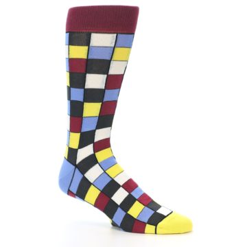 Image of Blues Yellow Red Checkered Men's Dress Socks (side-1-26)