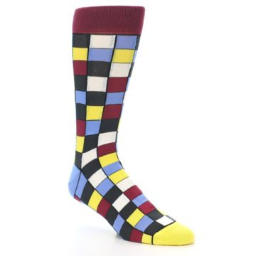 Image of Blues Yellow Red Checkered Men's Dress Socks (side-1-27)
