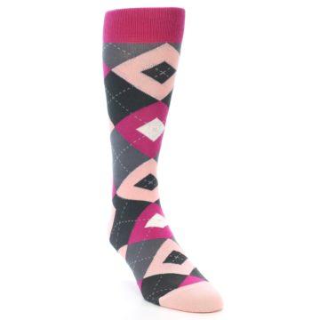 Image of Fuchsia Pink Argyle Wedding Groomsmen Men's Dress Socks (side-1-front-02)