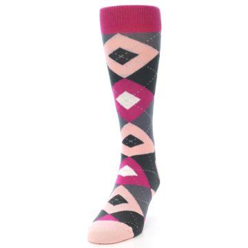 Image of Fuchsia Pink Argyle Wedding Groomsmen Men's Dress Socks (side-2-front-06)