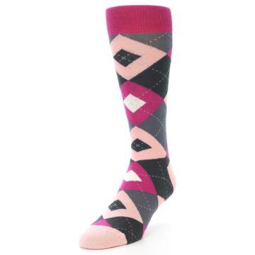 Image of Fuchsia Pink Argyle Wedding Groomsmen Men's Dress Socks (side-2-front-07)