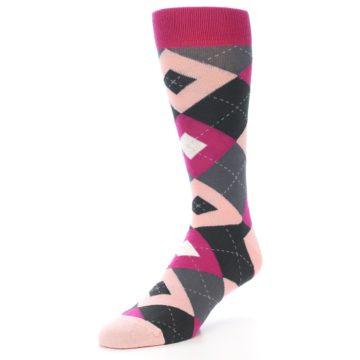 Image of Fuchsia Pink Argyle Wedding Groomsmen Men's Dress Socks (side-2-front-08)