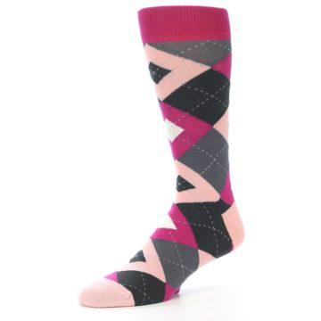 Image of Fuchsia Pink Argyle Wedding Groomsmen Men's Dress Socks (side-2-09)
