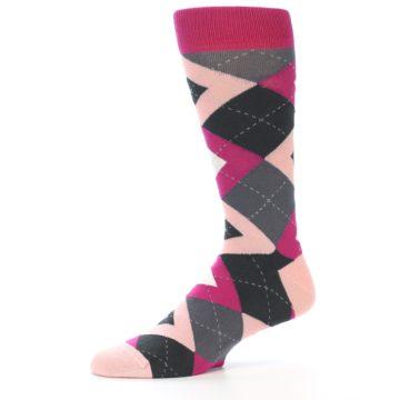 Image of Fuchsia Pink Argyle Wedding Groomsmen Men's Dress Socks (side-2-10)