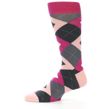 Image of Fuchsia Pink Argyle Wedding Groomsmen Men's Dress Socks (side-2-11)
