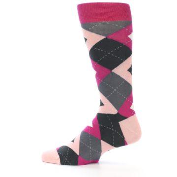 Image of Fuchsia Pink Argyle Wedding Groomsmen Men's Dress Socks (side-2-12)