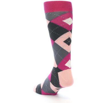 Image of Fuchsia Pink Argyle Wedding Groomsmen Men's Dress Socks (side-2-back-15)