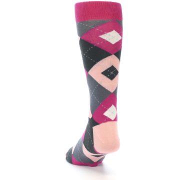 Image of Fuchsia Pink Argyle Wedding Groomsmen Men's Dress Socks (side-2-back-16)