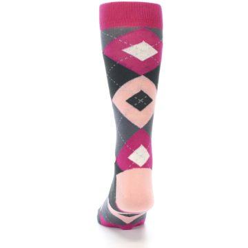 Image of Fuchsia Pink Argyle Wedding Groomsmen Men's Dress Socks (back-17)