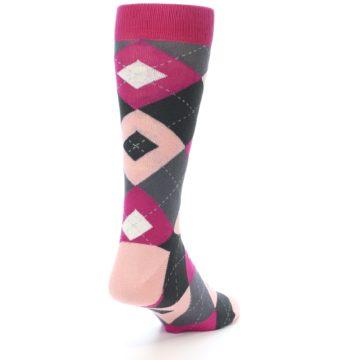 Image of Fuchsia Pink Argyle Wedding Groomsmen Men's Dress Socks (side-1-back-20)
