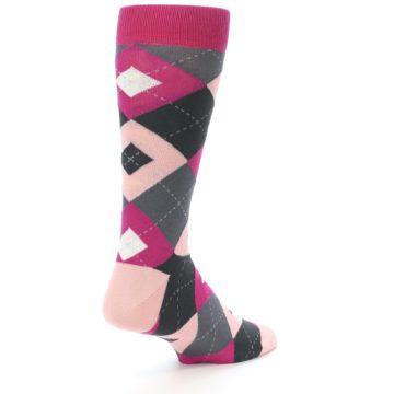 Image of Fuchsia Pink Argyle Wedding Groomsmen Men's Dress Socks (side-1-back-21)