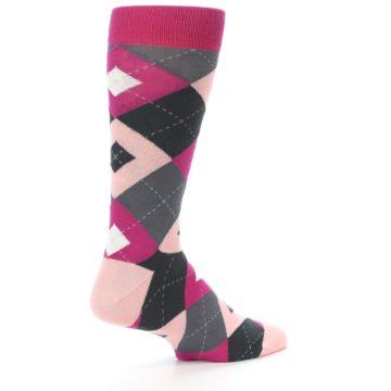 Image of Fuchsia Pink Argyle Wedding Groomsmen Men's Dress Socks (side-1-back-22)