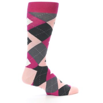 Image of Fuchsia Pink Argyle Wedding Groomsmen Men's Dress Socks (side-1-23)