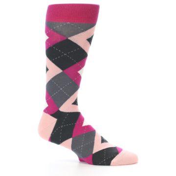 Image of Fuchsia Pink Argyle Wedding Groomsmen Men's Dress Socks (side-1-25)