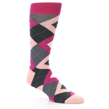 Image of Fuchsia Pink Argyle Wedding Groomsmen Men's Dress Socks (side-1-26)