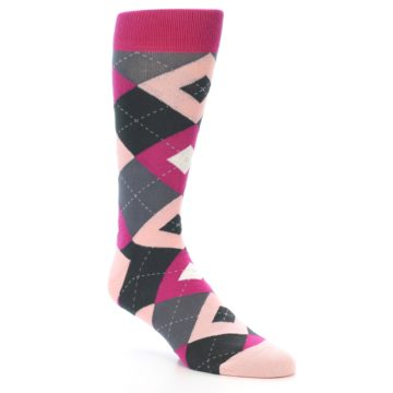 Image of Fuchsia Pink Argyle Wedding Groomsmen Men's Dress Socks (side-1-27)