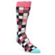 Image of Bright Pink Grey Black Checkered Men's Dress Socks (side-1-front-01)