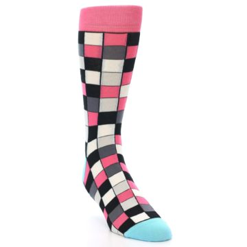 Image of Bright Pink Grey Black Checkered Men's Dress Socks (side-1-front-02)