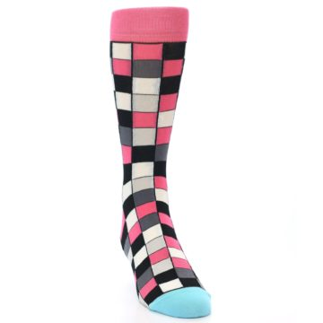 Image of Bright Pink Grey Black Checkered Men's Dress Socks (side-1-front-03)