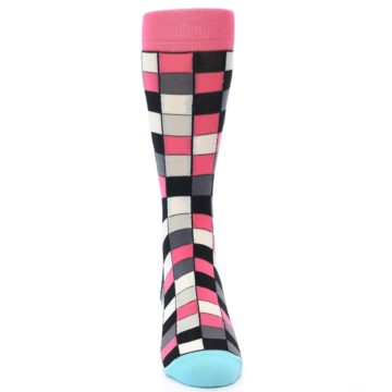 Image of Bright Pink Grey Black Checkered Men's Dress Socks (front-04)
