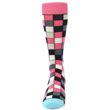 Image of Bright Pink Grey Black Checkered Men's Dress Socks (front-05)