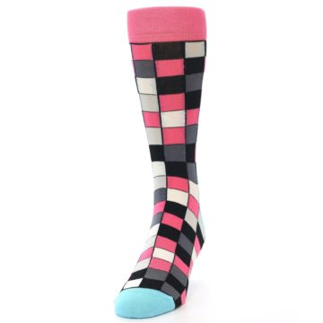 Image of Bright Pink Grey Black Checkered Men's Dress Socks (side-2-front-06)