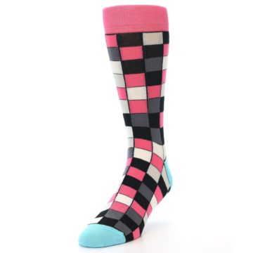 Image of Bright Pink Grey Black Checkered Men's Dress Socks (side-2-front-07)