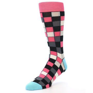 Image of Bright Pink Grey Black Checkered Men's Dress Socks (side-2-front-08)