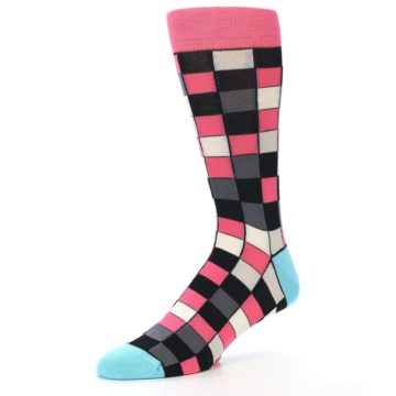 Image of Bright Pink Grey Black Checkered Men's Dress Socks (side-2-09)