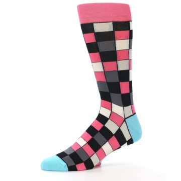 Image of Bright Pink Grey Black Checkered Men's Dress Socks (side-2-10)