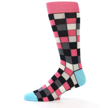 Image of Bright Pink Grey Black Checkered Men's Dress Socks (side-2-11)
