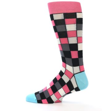 Image of Bright Pink Grey Black Checkered Men's Dress Socks (side-2-12)