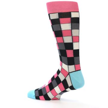 Image of Bright Pink Grey Black Checkered Men's Dress Socks (side-2-13)