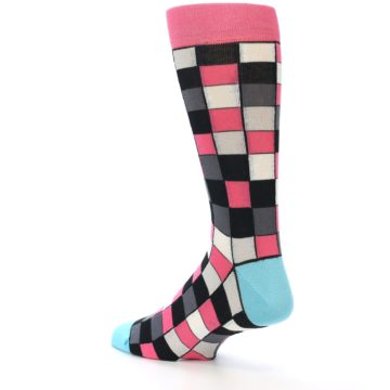Image of Bright Pink Grey Black Checkered Men's Dress Socks (side-2-back-14)