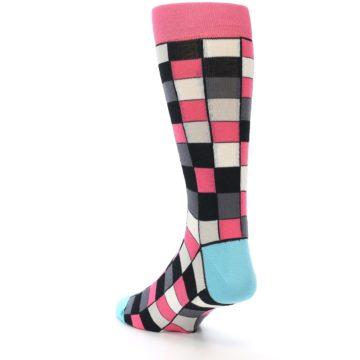 Image of Bright Pink Grey Black Checkered Men's Dress Socks (side-2-back-15)