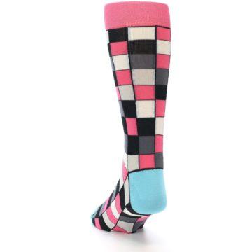 Image of Bright Pink Grey Black Checkered Men's Dress Socks (side-2-back-16)