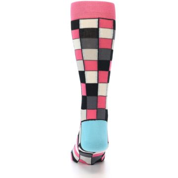 Image of Bright Pink Grey Black Checkered Men's Dress Socks (back-17)