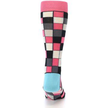 Image of Bright Pink Grey Black Checkered Men's Dress Socks (back-18)