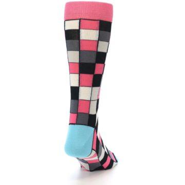 Image of Bright Pink Grey Black Checkered Men's Dress Socks (back-19)