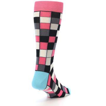 Image of Bright Pink Grey Black Checkered Men's Dress Socks (side-1-back-20)