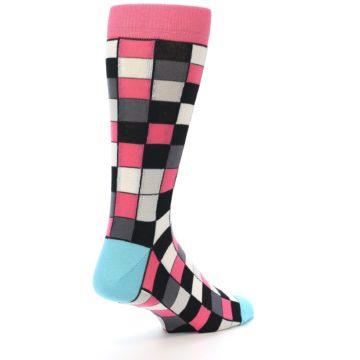Image of Bright Pink Grey Black Checkered Men's Dress Socks (side-1-back-21)