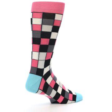 Image of Bright Pink Grey Black Checkered Men's Dress Socks (side-1-back-22)