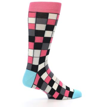 Image of Bright Pink Grey Black Checkered Men's Dress Socks (side-1-23)