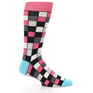 Image of Bright Pink Grey Black Checkered Men's Dress Socks (side-1-24)